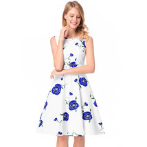 AOVEI Blue Floral Print Sweet Party Prom Flared Pleated Swing Dress With Belt - $24.99