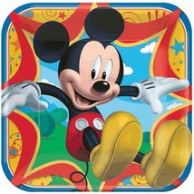 """Mickey Mouse Clubhouse Disney Kids Birthday Party 9"""" Square Paper Dinner Plates - $9.66"""