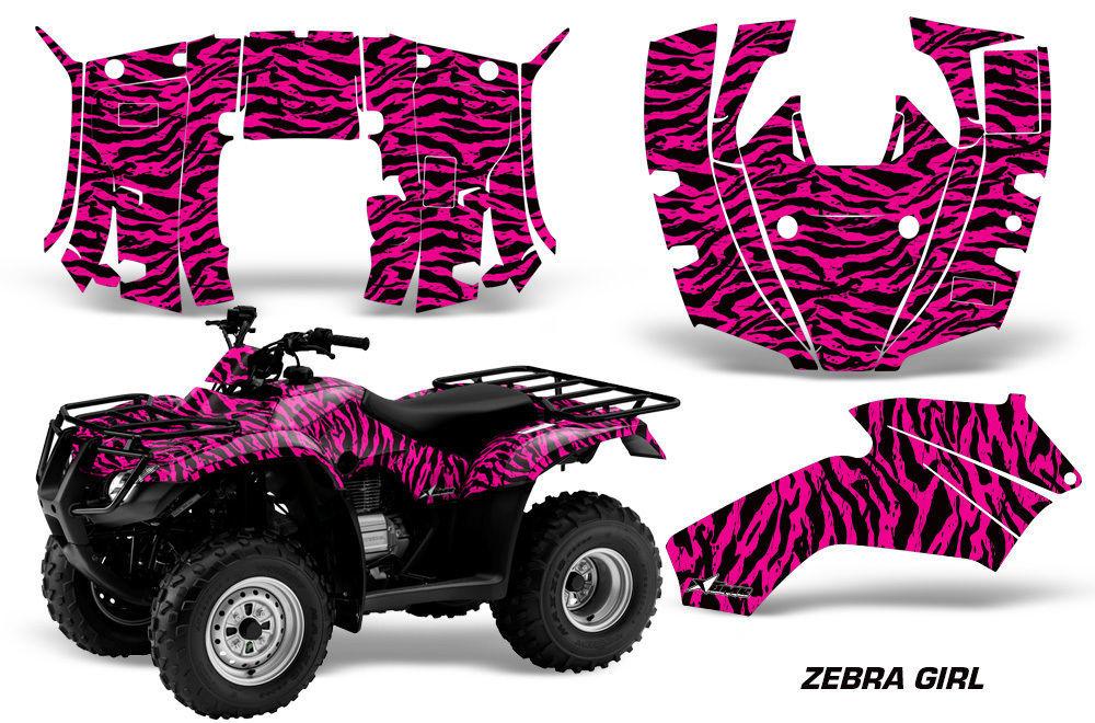 ATV Decal Graphics Kit Quad Wrap For Honda FourTrax Recon 2005-2018 ZEBRA PINK