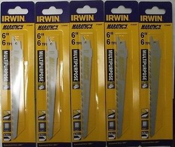 "Irwin 372645F 6"" x 6-TPI Bi-Metal Multipurpose Reciprocating Saw Blade 5pc Swiss - $7.43"