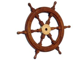 "12"" Wood wheel / Brass Ship Wheel - Wooden Ships Wheel - Nautical Mariti... - $49.00"