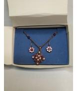 2005 Avon Purple Pink Ice Giftset NIB Goldtone Necklace Hook Earrings Rh... - $24.74