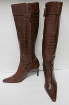 Ralph Lauren Women's Boots ALSTON Hi-Heel Tall Leather Alligator Look Br... - $69.94