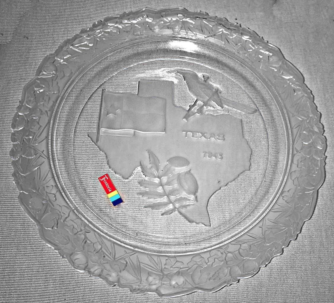 Fostoria Texas Frosted Glass Plate Our American States Collection 1970s in Box