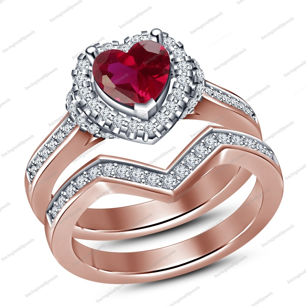 Heart Shape Pink Sim Diamond 925 Sterling Silver Wedding Engagement Ring Set