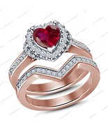 Heart Shape Pink Sim Diamond 925 Sterling Silver Wedding Engagement Ring Set - $68.35