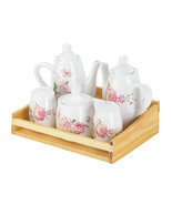 Tea Set For Women, Ceramic Dolomite Pink Rose China Tea Set - $24.58