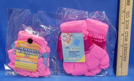 NEW Set 3 Pairs Childrens Baby Winter Gloves Hot Pink Open Finger Mittens - $5.45