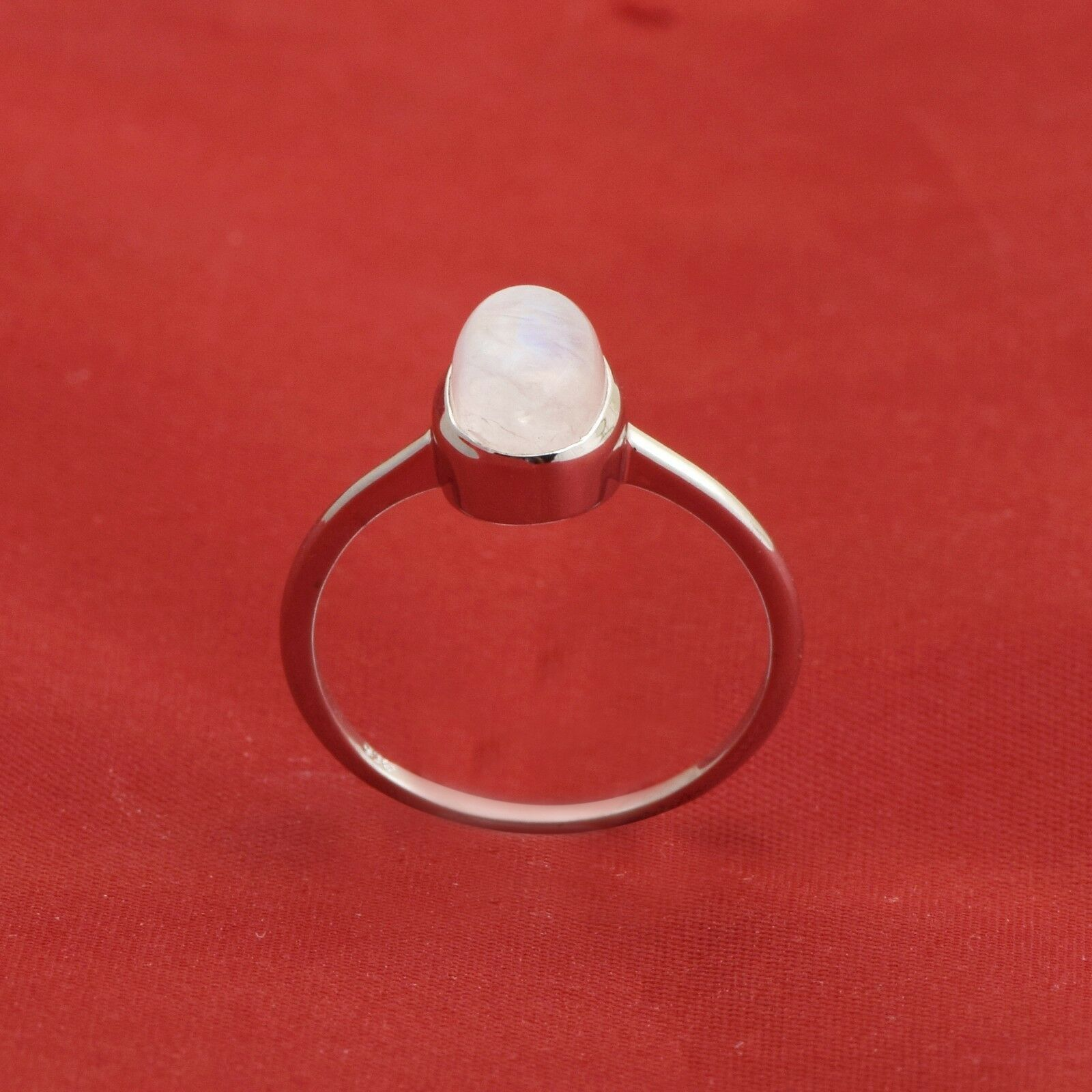 Moonstone Solitaire 925 Sterling Silver Women Anniversary Stackable Band Ring