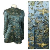 1930s Chinese Jacket Top / Blue Silk Bird Flower Brocade Jacket Art Deco... - $159.00