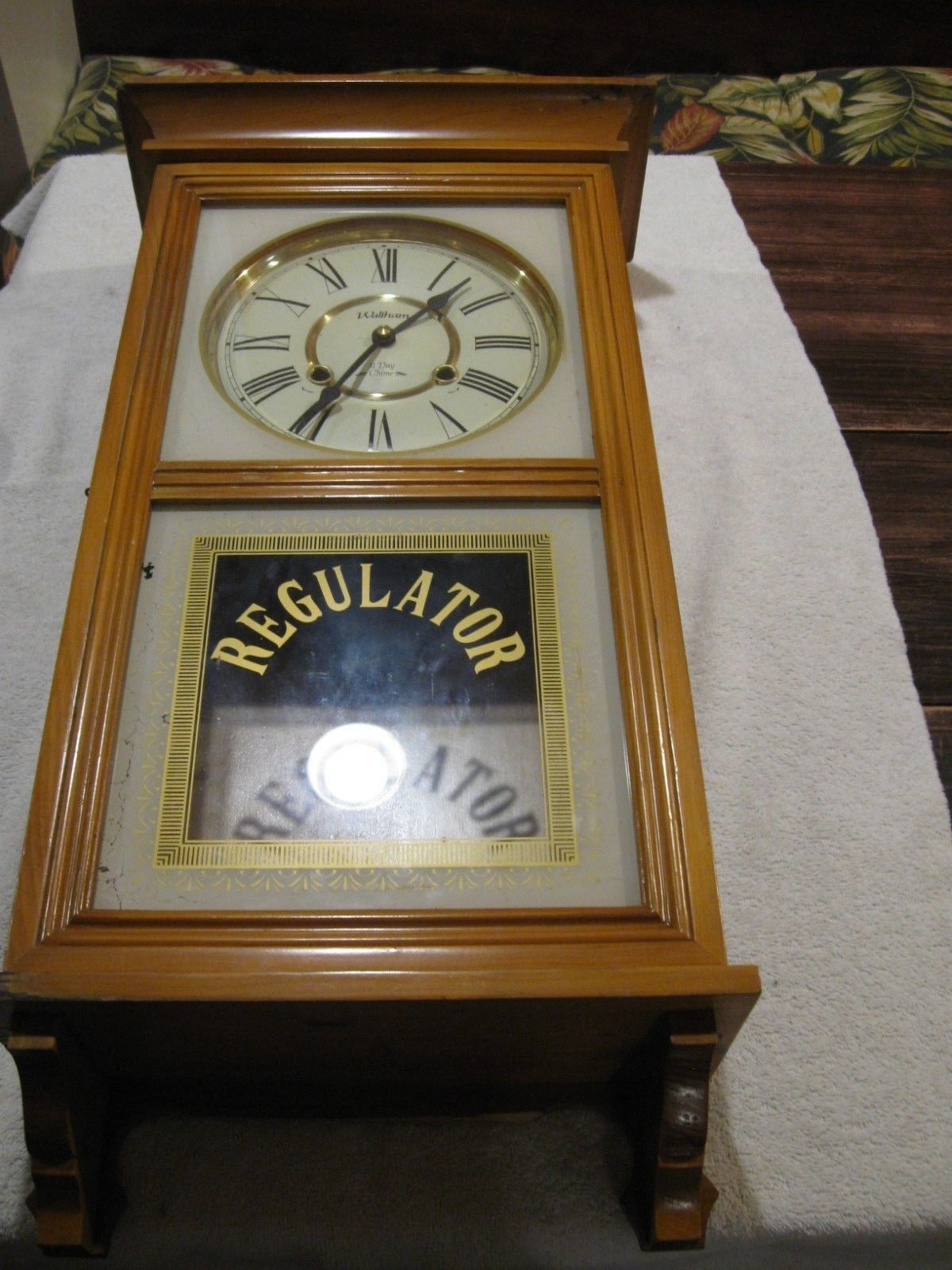 Waltham 31 Day Regulator Oak Wall Clock With Chimes For