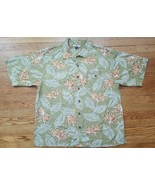 Tommy Bahama Mens Shirt XL Olive Green Hawaiian Leaves  Crab 100% Silk S... - $12.38