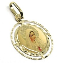 SOLID 18K YELLOW ROUND GOLD MEDAL, VIRGIN MARY 18 mm, SACRED HEART, ENAMEL image 2