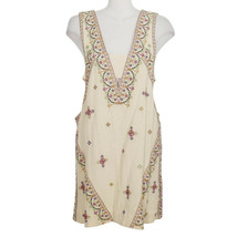 FREE PEOPLE Ivory Never Been Embroidered Sequin Cotton Sleeveless Mini Dress L - $79.99