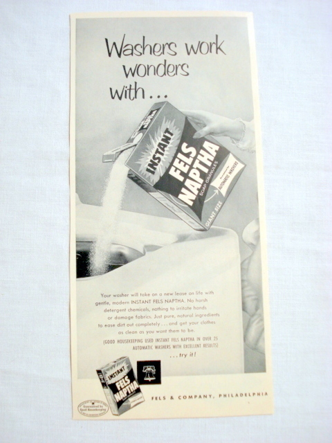 Primary image for 1957 Ad Fels Naptha Soap Granules For Automatic Washers