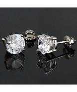 8mm Screw-Back Brilliant Cut Russian Ice CZ Stud Earrings 925 Silver 4.0... - $28.00