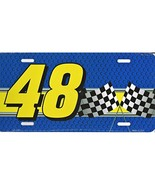 Jimmie Johnson #48 Aluminum Metal Vanity License Plate (Blue/Gold) - $11.95