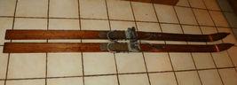 Pair of Antique Oak Skis Wooden Skis - $434.43