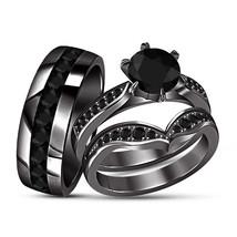 Men's Women's Wedding 14K Black Gold Finish 925 Silver Lovely Trio Ring ... - $157.98