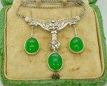 Astonishing antique iconic Art-Deco Platinum,Diamonds&Jade/Nephrite necklace