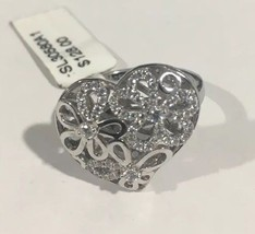 Sterling Silver Heart Shape Women's Cocktail Ring With Flowers And cz St... - $74.69