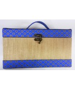 Brocade Jewelry Box Designed by Lakme Blue & Golden Color from India - $24.18