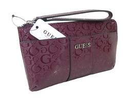 Guess G Logo Wristlet Purse Hand Bag Clutch Bordeaux Burgundy Wine Ware ... - $44.54