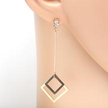 Rose Gold Tone Designer Earrings, Swarovski Style Crystals & Jet Black Accent - $19.99