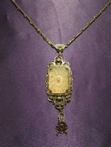 Victorian Glass Rhinestone Gold Tone Filigree Twist Pendant Necklace - $74.25
