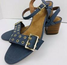 Aersoles Heelrest 9.5 M Mid Town Blue Buckle Sandal Block Heel Shoe  - $39.59