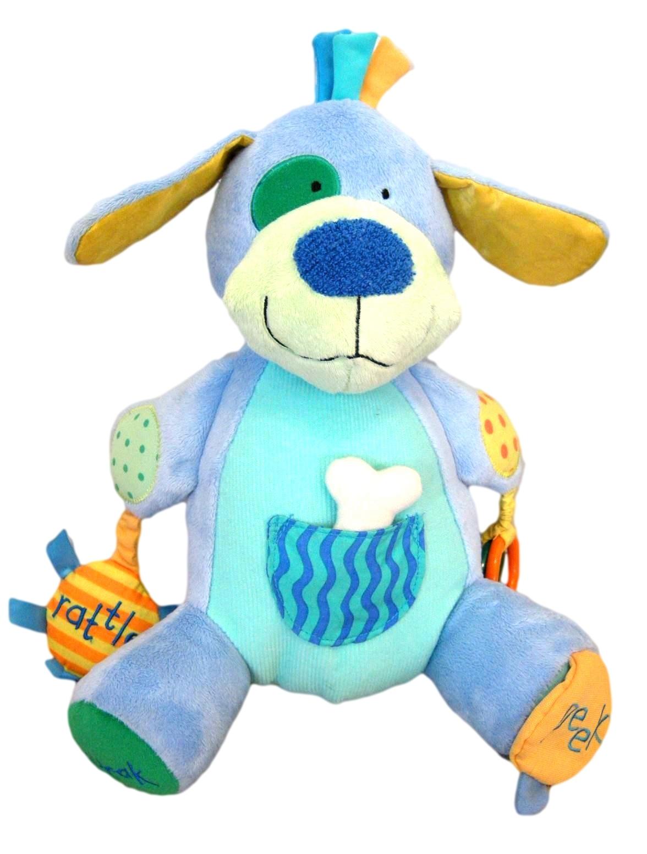 """Manhattan Toy Peek Squeak Plush Activity Puppy Dog 12"""" Teether Rattle"""