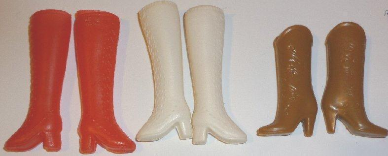 BARBIE Doll 1980s Fashions lot of 3 pairs BOOT shoes