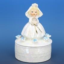 "Vintage Japanese White Pearl Lusterware Bride Trinket Box Figurine 4 3/4"" Tall"