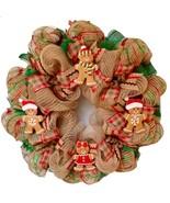 Gingerbread Men Christmas Cookies Handmade Deco Mesh Wreath - $92.99