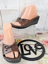 "Montego Bay Club Slip On Brown Leather Wedge 2.5"" Heel Slides Sandals 5.5M  - $11.29"