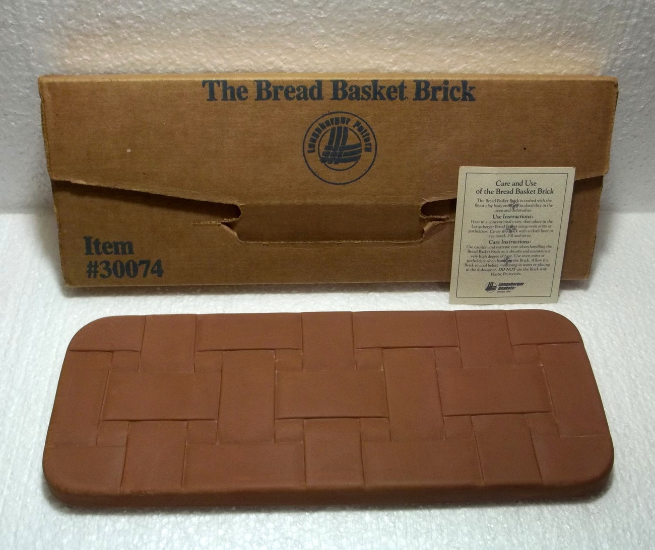 Longaberger bread basket pottery warming brick 30074 002