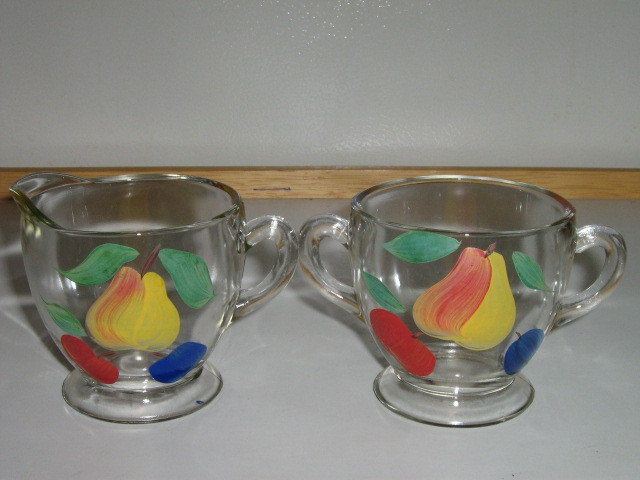 Vintage Indiana Glass Co. Gay Fad Hand Painted Sugar Bowl & Creamer -  1940s