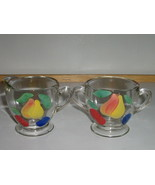Vintage Indiana Glass Co. Gay Fad Hand Painted Sugar Bowl & Creamer -  1940s - £7.24 GBP