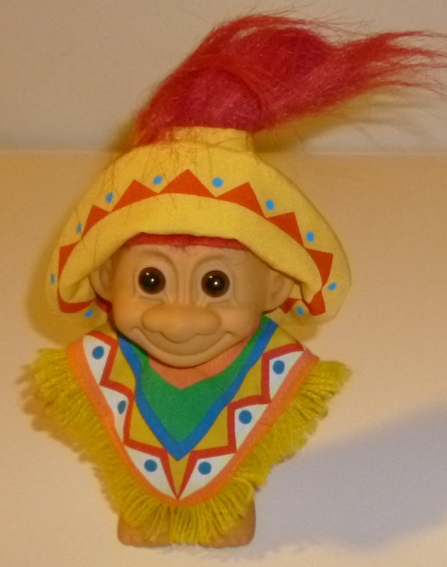 Russ Trolls TROLL Doll Mexico MEXICAN with poncho & hat 5""