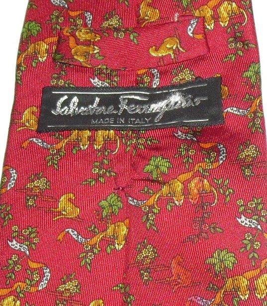SALVATORE FERRAGAMO Silk TIE Necktie COUGAR animals