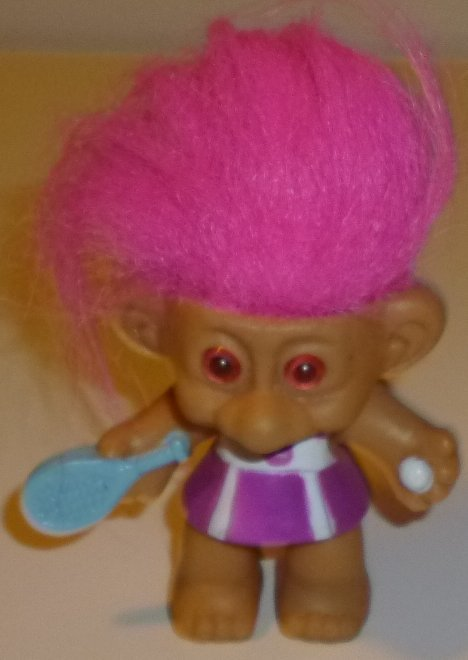 TROLL Doll pink hair TENNIS PLAYER built-in dress racket & ball 3""