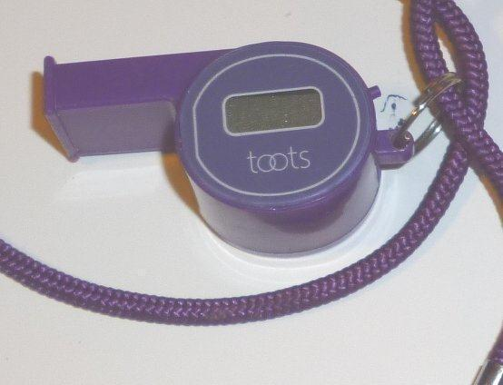 Vintage TOOTS plastic Whistle with NON-working clock 1.75""