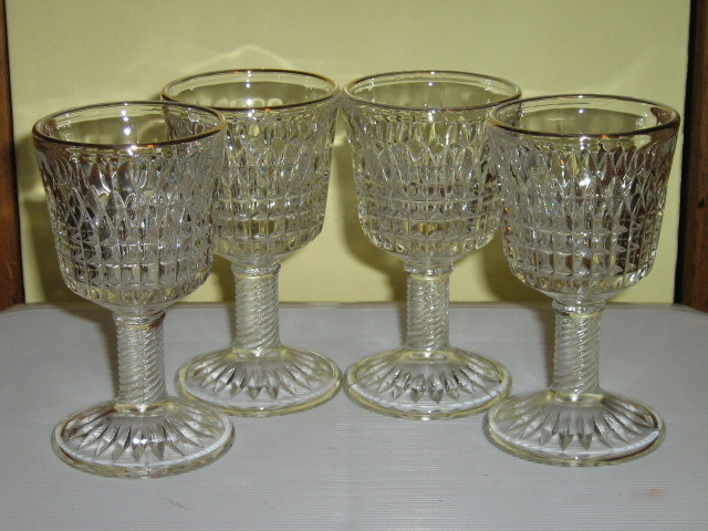 Primary image for Four Vintage Pressed Glass Stemmed Cordials - Gilt Rimmed