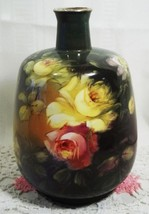 """ANTIQUE ROYAL BONN VASE FLOWERS 8 1/2"""" HIGH BY 5"""" WIDE 1890'S HAND PAINTED - $114.00"""