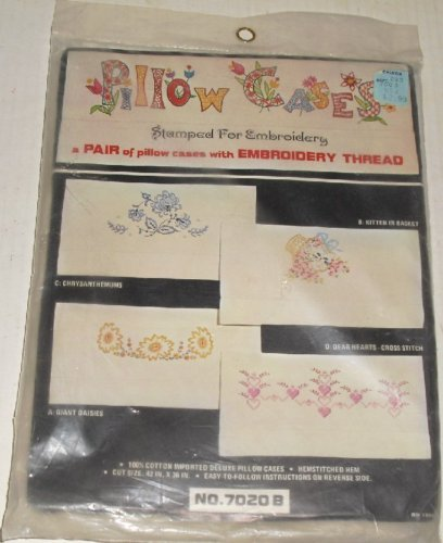 Vtg Percale Pillow Case pair stamped EMBROIDERY Kit