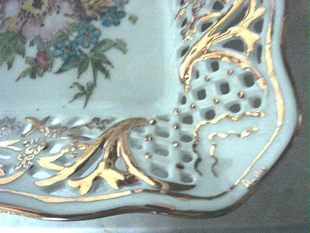 Dresden Flowers Square Decorative Reticulated Dish Schumann