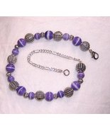 "lavender and silver beads 7"" bracelet with lobster claw clas - $19.95"