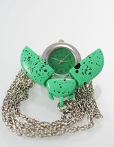 Catarina Green Womens Stainless Steel Quartz Battery Ladybug Necklace Watch - $9.46