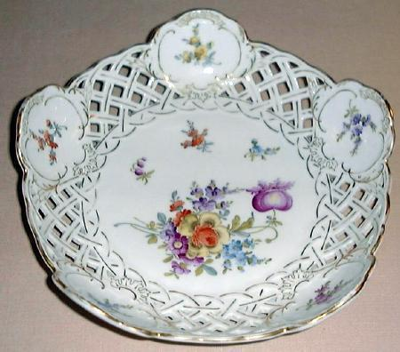 SAXE Pierced Porcelain Bowl #1 DRESDEN FLOWERS Germany