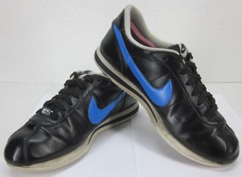 """Nike 2013 Cortez """"72"""" Sz 10 Us BLACK/BLUE Leather Trainers Sneakers Old School - $56.28"""